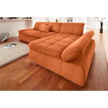 DOMO COLLECTION canapé d'angle, avec récamière, et fonction de lit en option