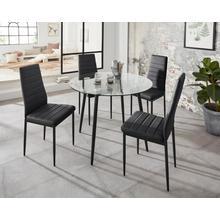 ensemble de salle à manger Danny + Sandy, lot 5, table ronde en verre, Ø 100 cm et4 chaises manger, revêtement simili cuir