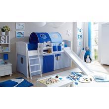 TICAA set pour chambre d'adolescent Ekki, avec toboggan et ensemble textile, pin massif ciré blanc