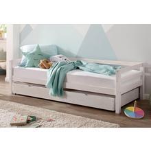 LUTTENHUTT lit à 3 parois Alpi, avec tiroir en pin massif, trois variantes de couleurs différentes, dimensions extérieures largeur 103 cm