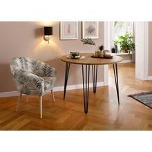 HOME AFFAIRE table de salle à manger Hairpin, en chêne massif, avec pieds métal, largeur 100 cm