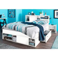 BRECKLE lit avec espace de rangement, étagères extensibles dans la tête