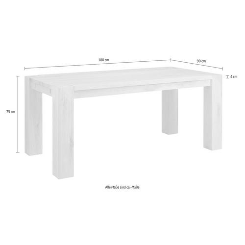 HOME AFFAIRE table de salle à manger Mary, en chêne sauvage massif, disponible différentes largeurs