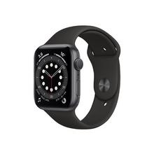 APPLE Watch Series 6 (GPS) - 44 mm ruimte-grijs aluminium smart met sportband fluoroelastomeer zwart bandgrootte 140-210 S/M/L 32 GB Wi-Fi, Bluetooth 36.5 g