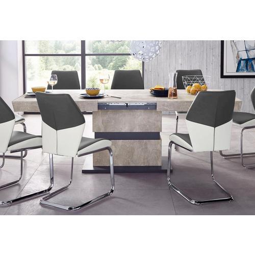 HOMEXPERTS table de salle à manger pied colonne Marley Az, extensible, en 2 tailles (140 + 160)