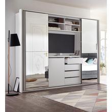 kast met zwevende deuren, tv-vak en spiegel