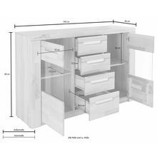 buffet Kolding, Largeur 140 cm avec 2 portes vitrées