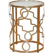 LEONIQUE table d'appoint Noëlle, avec plateau en verre miroir et cadre métallique couleur or