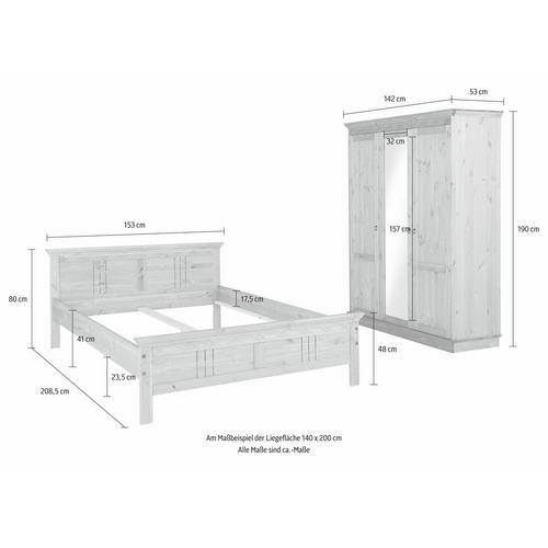 HOME AFFAIRE set pour chambre à coucher Indra, lot de 2, composé d'un lit 140 cm et d'une armoire 3 portes