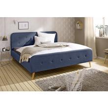 HOME AFFAIRE lit rembourré Amrum, avec une bande de boutons sur la partie rembourrée tête et du pied