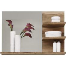 TRENDTEAM miroir de salle bain Cancun, avec aspect cadre dans les tons bois et 3 étagères