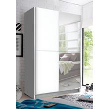 kast met zwevende deuren, spiegel, uittrekbare garderobestang en extra planken