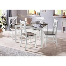HOMEXPERTS ensemble de salle à manger Milow, lot 5, en bois massif, composé d'une table 118 cm large et 4 chaises