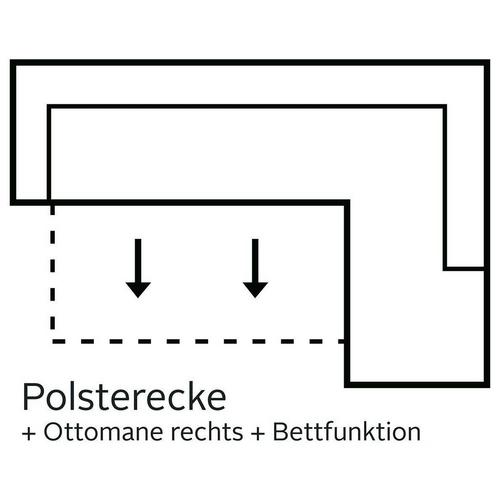 COTTA hoekbank, Optioneel met bedfunctie en bedkoffer