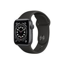 APPLE Watch Series 6 (GPS) - 40 mm espace gris en aluminium montre intelligente avec bande sport fluoroélastomère noir taille de 130-200 S/M/L 32 Go Wi-Fi, Bluetooth 30.5 g