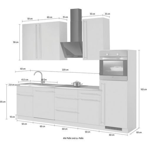 WIHO KUCHEN bloc de cuisine Chicago, sans appareil électrique, largeur280 cm