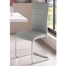stoel zonder achterpoten Adora, 2-delig, (2 of 4 stuks) bekleding in kunstleder, verchroomdmetalen frame