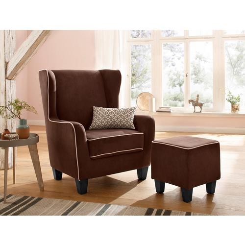HOME AFFAIRE fauteuil Ginger, avec tabouret en set, tuyauterie, noyau à ressort