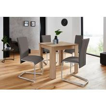 HOMEXPERTS ensemble de salle à manger Nick1-Mulan, lot 5, Table en chêne brut sciage, largeur 80 cm