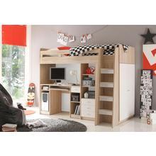 hoogslaper, Met kledingkast, bureau en laden