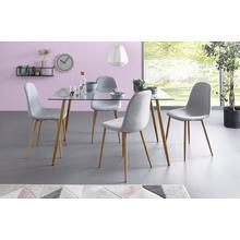 ensemble de salle à manger, lot 5, Table carrée en verre avec 4 chaises (tissu tissé)