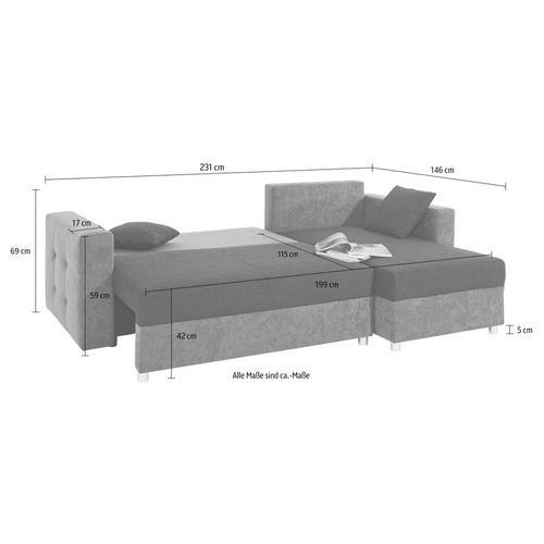 SIT & MORE canapé d'angle, Fonction lit et tiroir de inclus