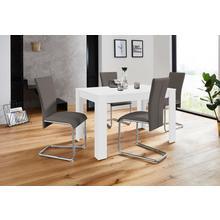 HOMEXPERTS ensemble de salle à manger Nick2-Mulan, lot 5, avec 4 chaises, table en blanc, largeur 120 cm