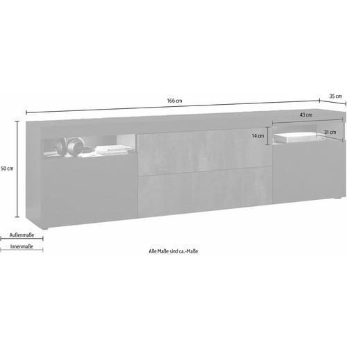 BORCHARDT MOBEL lowboard Kapstadt, breedte 166 cm