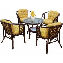 ensemble de salle à manger, en rotin tressé la main avec coussins assortis, motif floral