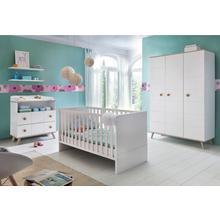 set complet pour chambre de bébé Cannes, lot 3, Lit + commode à langer 3 portes Armoire