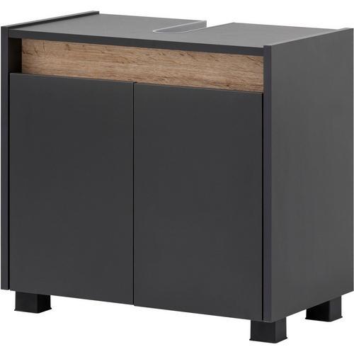 SCHILDMEYER meuble d'évier Cosmo, Hauteur 54,6 cm, armoire de salle bains au design sans poignée, panneau en chêne sauvage moderne, découpe pour canalisation