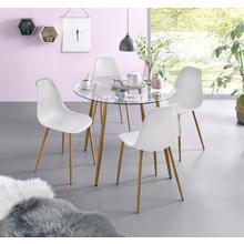 ensemble voor eettafel, 5-delig, Glazen tafel met 4 stoelen (kunststof kuipzitting)