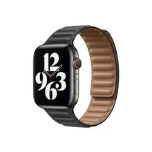 APPLE 44mm Leather Link - Horlogebandje voor smart watch maat M/L zwart (42 mm, 44 mm)