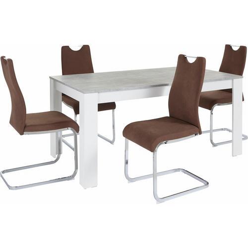 HOMEXPERTS ensemble de salle à manger Zabona, lot 5, 4 chaises et 1 table