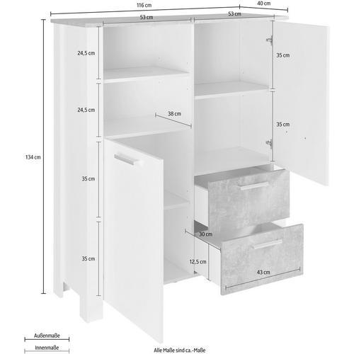 HOMEXPERTS meuble haut Zabona, Largeur 116 cm