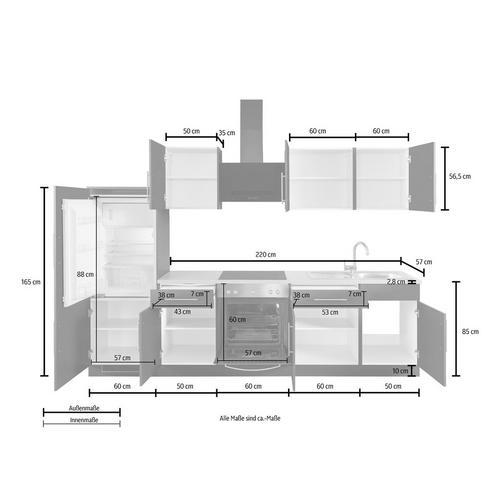 WIHO KUCHEN bloc de cuisine Cali, sans appareil électrique, largeur : 280 cm