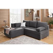 HOME AFFAIRE canapé d'angle Sassari-Italia, avec fonction lit et espace de rangement,rembourrage à bloc ressorts