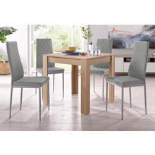 ensemble de salle à manger, lot 5, avec table couleur chêne et sa structure brute sciée , largeur 80 cm