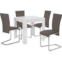 HOMEXPERTS ensemble de salle à manger Nick1-Mulan, lot 5, avec 4 chaises, table en blanc, largeur 80 cm