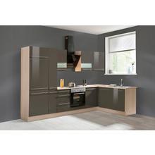 OPTIFIT cuisine d'angle Bern, sans appareil électrique, largeur de réglage 315 x 175 cm avec pieds réglables en hauteur, portes et tiroirs à fermeture amortie, poignées métalliques