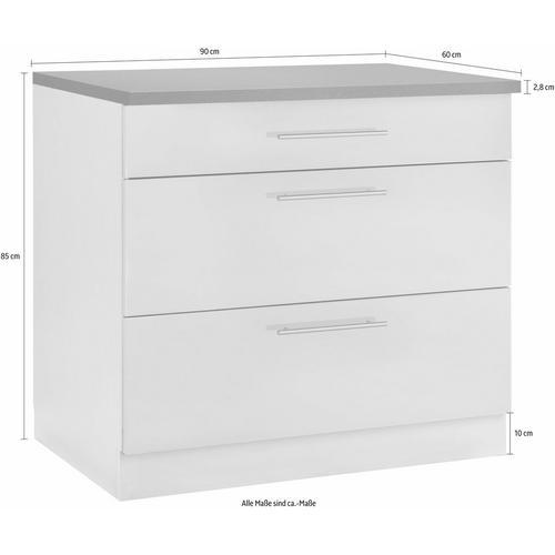 WIHO KUCHEN élément bas Cali, 90 cm de large, avec 2 grands tiroirs