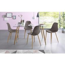 ensemble de salle à manger Miller, lot 5, Table carrée en verre avec 4 chaises (coque plastique)