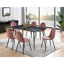 LEONIQUE table de salle à manger Eadwine, Plateau en MDF facile entretenir, cadremétallique