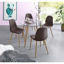 ensemble de salle à manger, lot 5, Table en verre avec 4 chaises (tissu tissé)