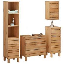 HOME AFFAIRE badkamermeubelset Josie, 4-delig, Van massief hout, verstelbare planken,metalen grepen