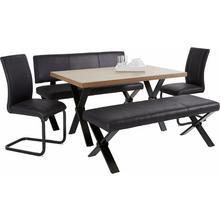 HOMEXPERTS ensemble de salle à manger Colt, lot 5, Table, largeur 140 cm, 2 bancs, cm chacun et chaises traineau, housse en microfibres l'aspect vintage