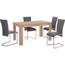 HOMEXPERTS ensemble de salle à manger Nick3-Mulan, lot 5, avec 4 chaises, table en chêne brut sciage, largeur 140 cm