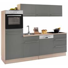 OPTIFIT bloc de cuisine Bern, sans appareil électrique, largeur 240 cm avec pieds réglables en hauteur, portes et tiroirs à fermeture amortie, poignées métalliques